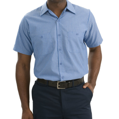 Red Kap - Short Sleeve Striped Industrial Work Shirt (Apparel)