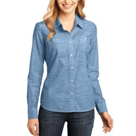 District - Ladies Long Sleeve Washed Woven Shirt