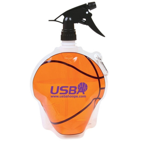 HydroPouch!™ 24 oz. Basketball Collapsible Spray Top Water Bottle - Patented