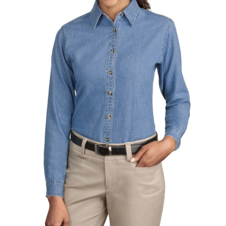 Port & Company - Ladies Long Sleeve Value Denim Shirt (Apparel)