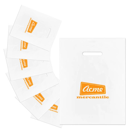 Custom Printed Frosted Die Cut Merchandise Bags
