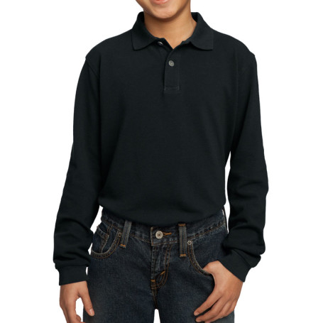 Port Authority Youth Long Sleeve Pique Knit Polo (Apparel)