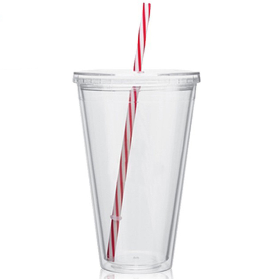 16 oz. Acrylic Tumbler With Candy Cane Straw