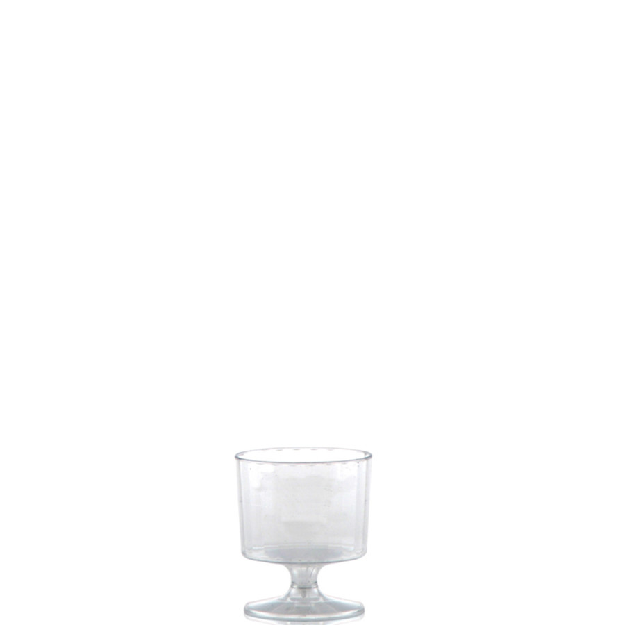 2 oz. Clear Fluted Plastic Footed Wine Glasses
