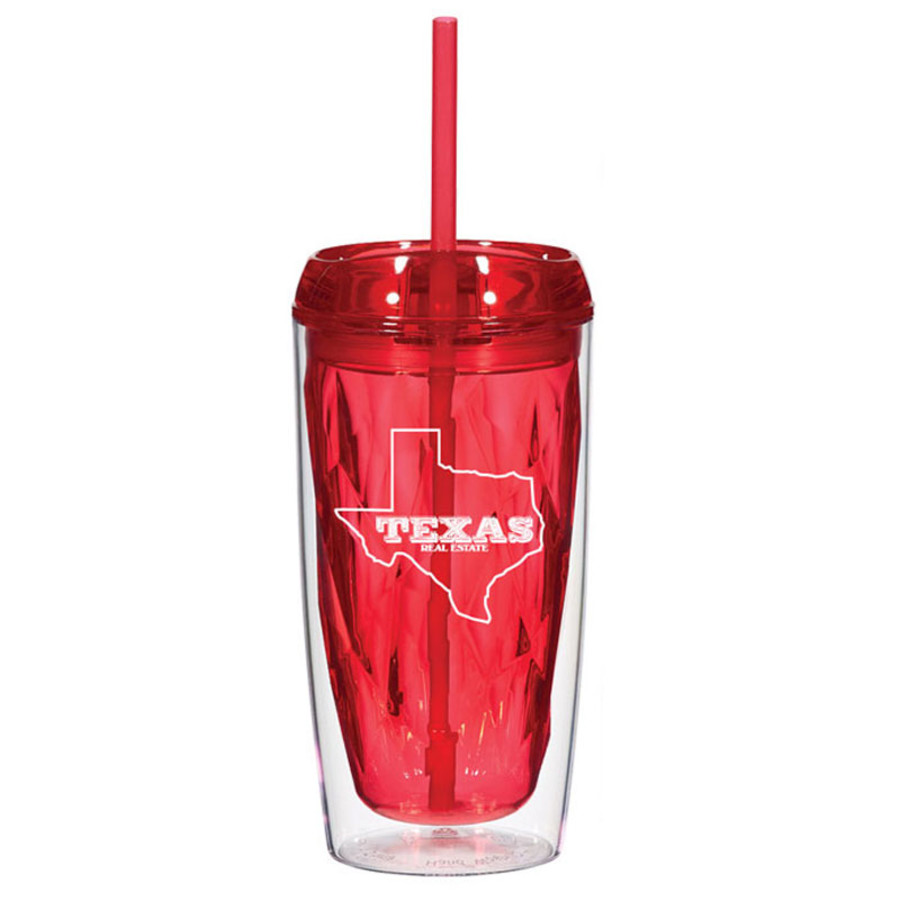 Custom Logo 16 Oz. Glacier Tumbler With Straw