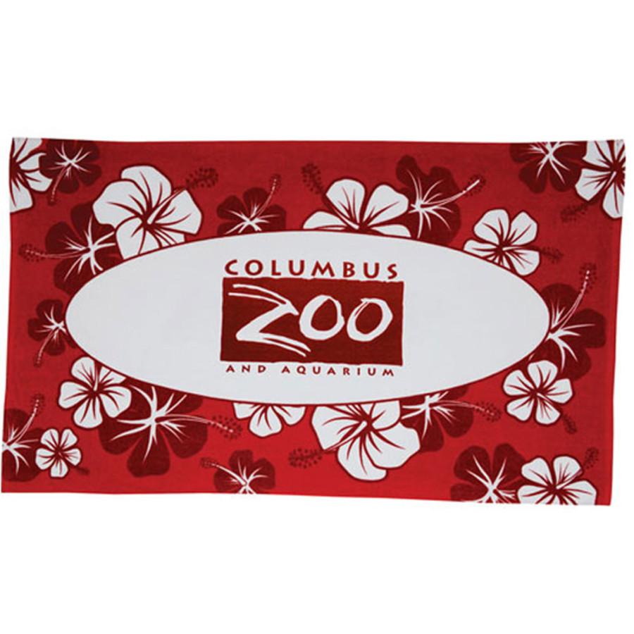 Custom Logo Hibiscus Pattern Beach Towel