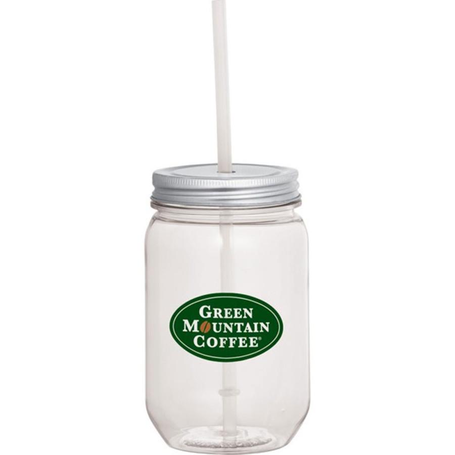 Custom Mason Jar 22oz. with Silver Tin Lid