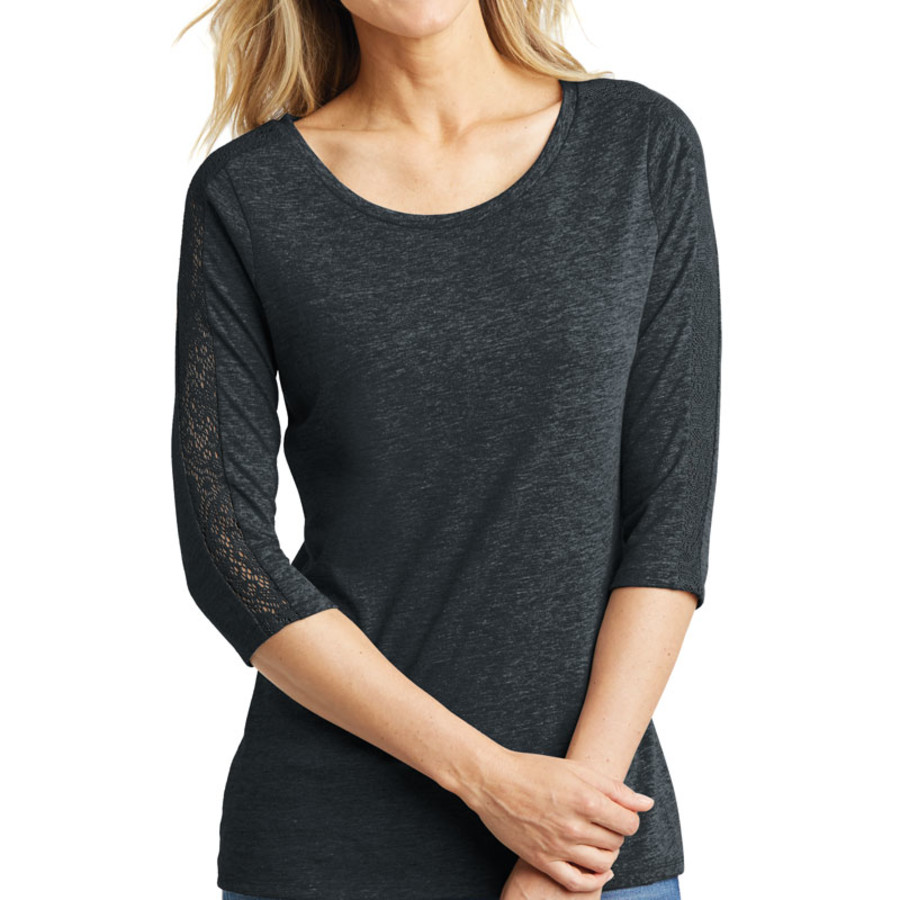 District Made Ladies Tri-Blend Lace 3/4-Sleeve Tee (Apparel)