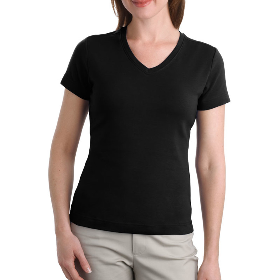Port Authority Ladies Modern Stretch Cotton V-Neck Shirt (Apparel)