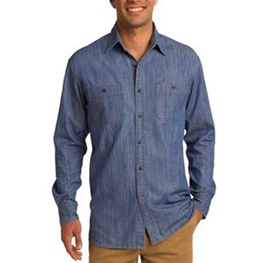 Port Authority Denim Shirt with Patch Pockets