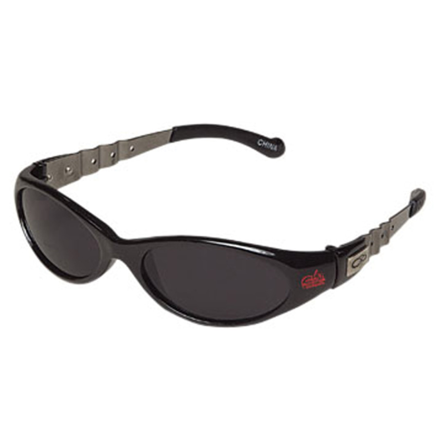 Promotional Wrap Style Sunglasses with Dark Lenses and Metal