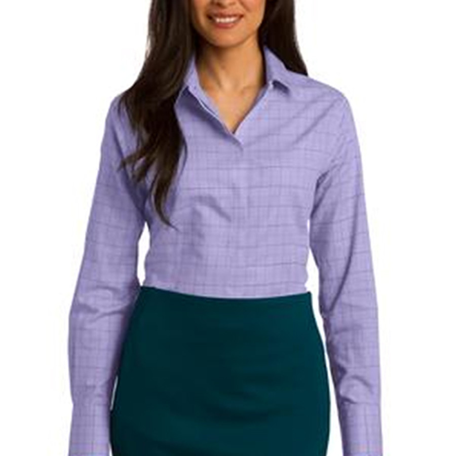 Red House Ladies Windowpane Plaid Non-Iron Shirt