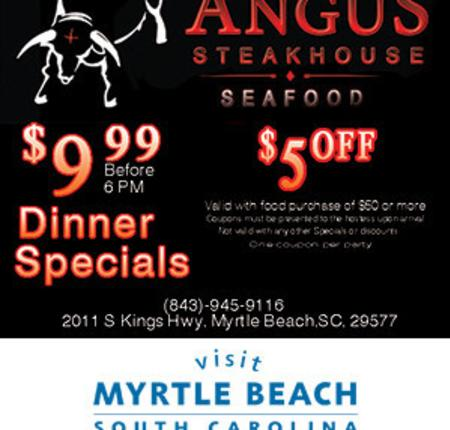 Angus Steakhouse & Seafood - $9.99 Dinner Specials / $5 Off
