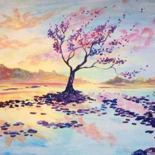 """Paint """"Sunset Serenity"""" at Paint Nite!"""