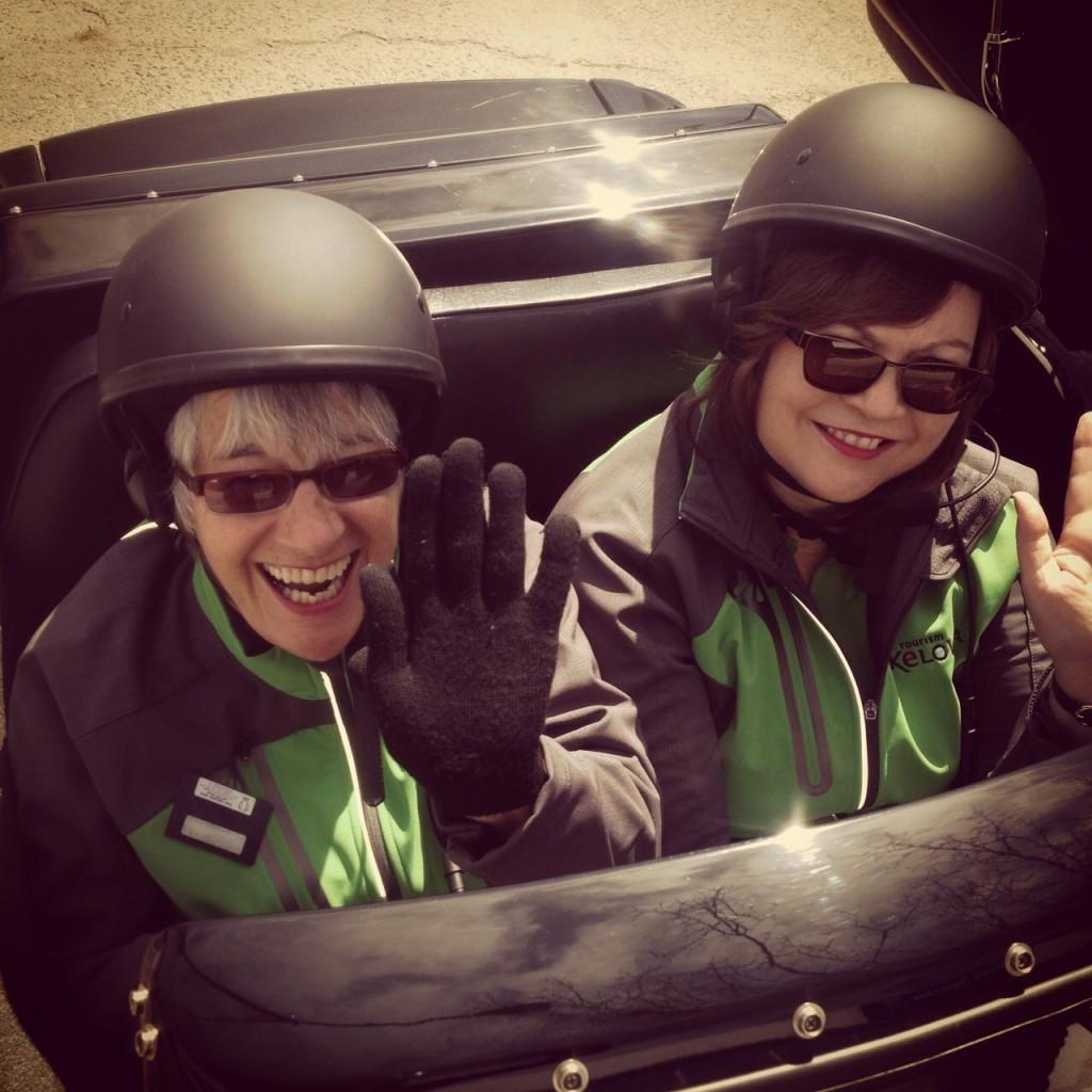 Test spin in a sidecar!  Tourism Kelowna volunteers check out Custom Sidecar Tours.