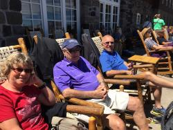 Crater Lake Lodge Porch in Deck Chairs Soaking up the Sun