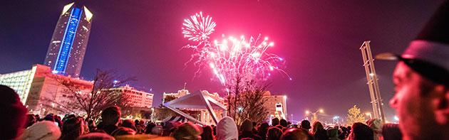 An image of Fireworks exploding during Opening Night, the New Years Celebration at the Civic Center Music Hall.