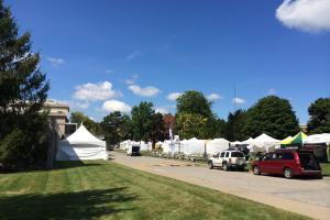Vendor tents at the Clothesline Festival in Rochester, NY