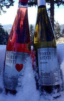 Noble Estate Wine in the Snow