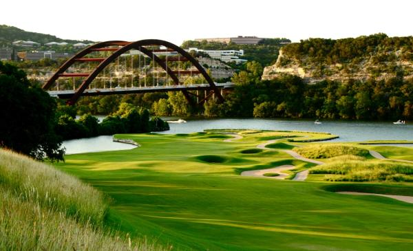 Course at the Austin Country Club, overlooking fairway and 360 Bridge. Courtesy of Austin Country Club.