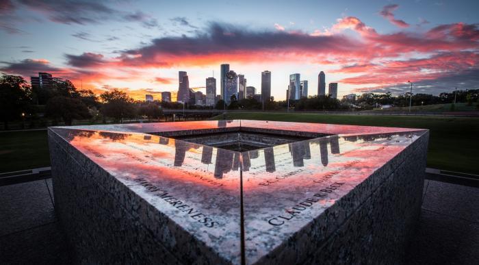 Houston Skyline at Police Memorial