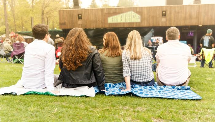 A group enjoying a concert at Merriweather Post Pavilion