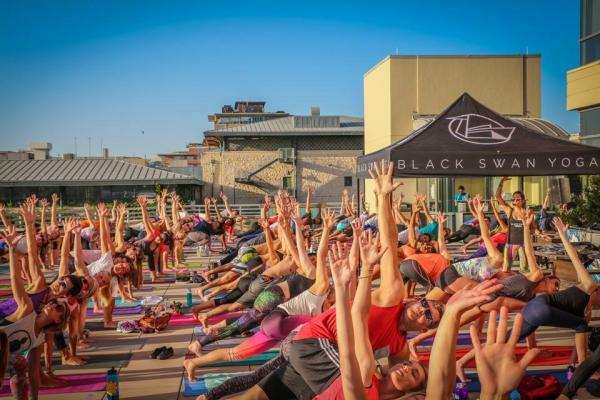 Yoga on the Rooftop at Whole Foods with Black Swan Yoga