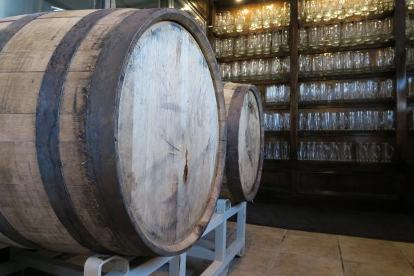 Beer aging in bourbon barrels at New Union Brewery in Lowell, MI