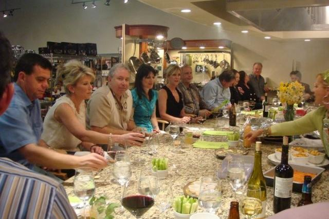 Group sharing meal at Simplee Gourmet in Covington