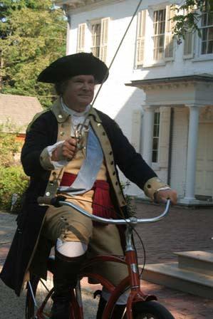George Washington on a bike