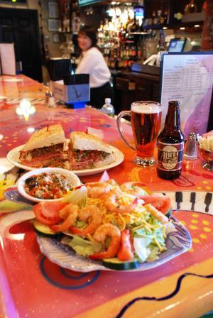 Eat Local - Camellia Cafel, grilled shrimp salad, half muffuletta