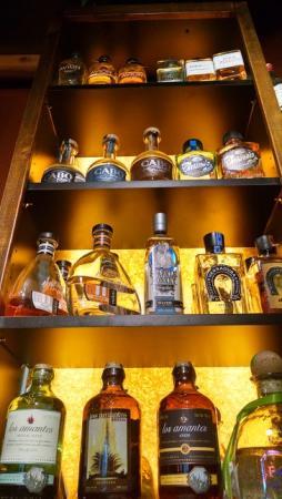 Bottled spirits at El Barrio bar in Grand Rapids