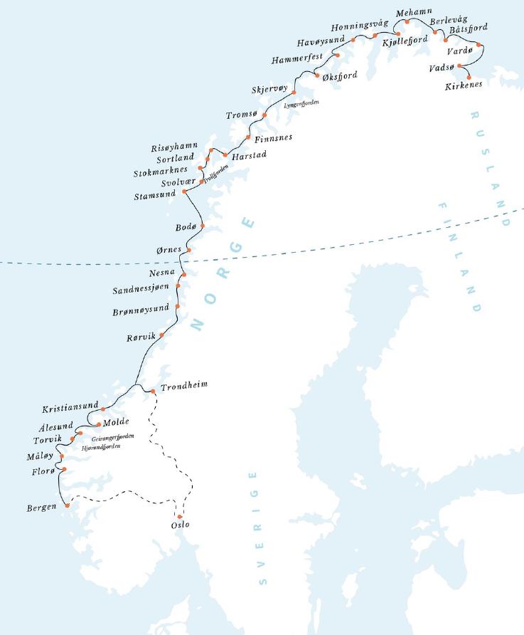 Hurtigruten map