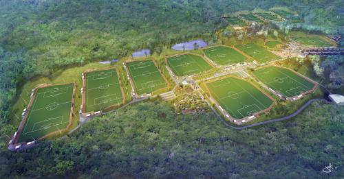 sports complex aerial soccer artist rendering