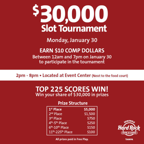$30,000 SLOT TOURNAMENT