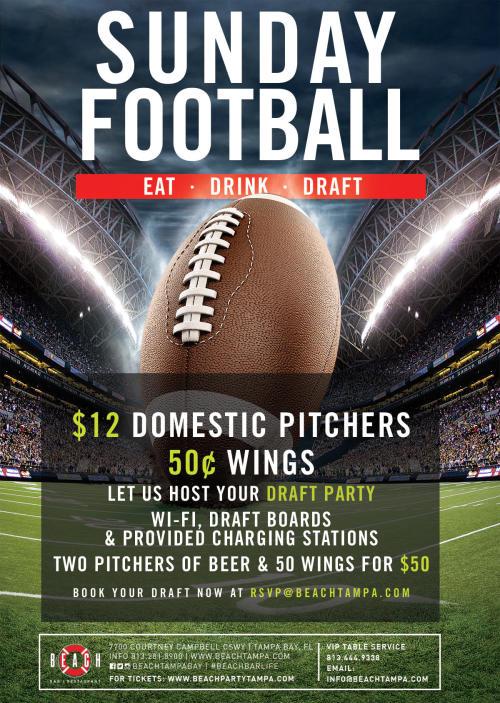 Sunday Football at Beach Bar | Restaurant in Tampa