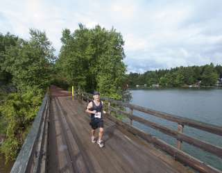 Jogger on bridge