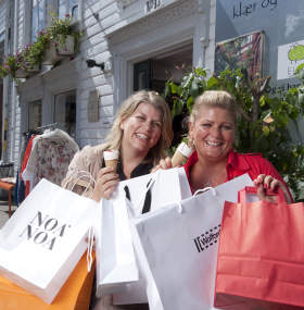 Happy shoppers in city centre Kristiansand