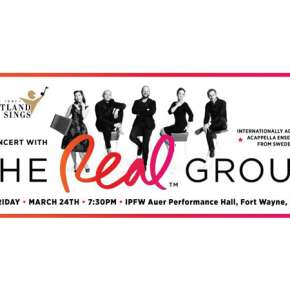 The Real Group and Heartland Sings concert poster for 3/24/17