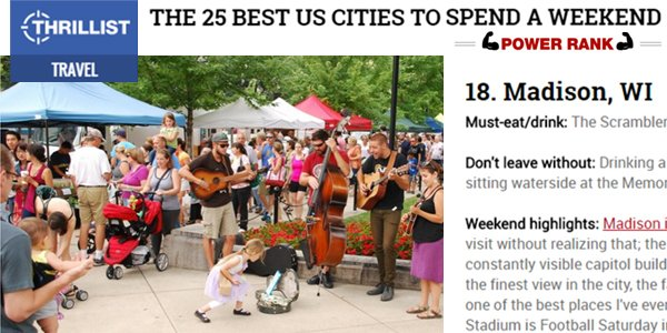 Thrillist:  The 25 Best US Cities to Spend a Weekend