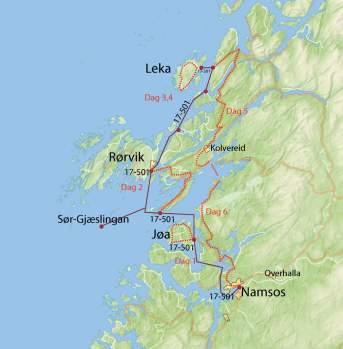 Kart øyhopping Namdalskysten