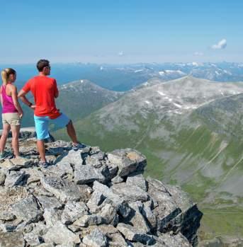 Hiking by the Skaala summit in Nordfjord,