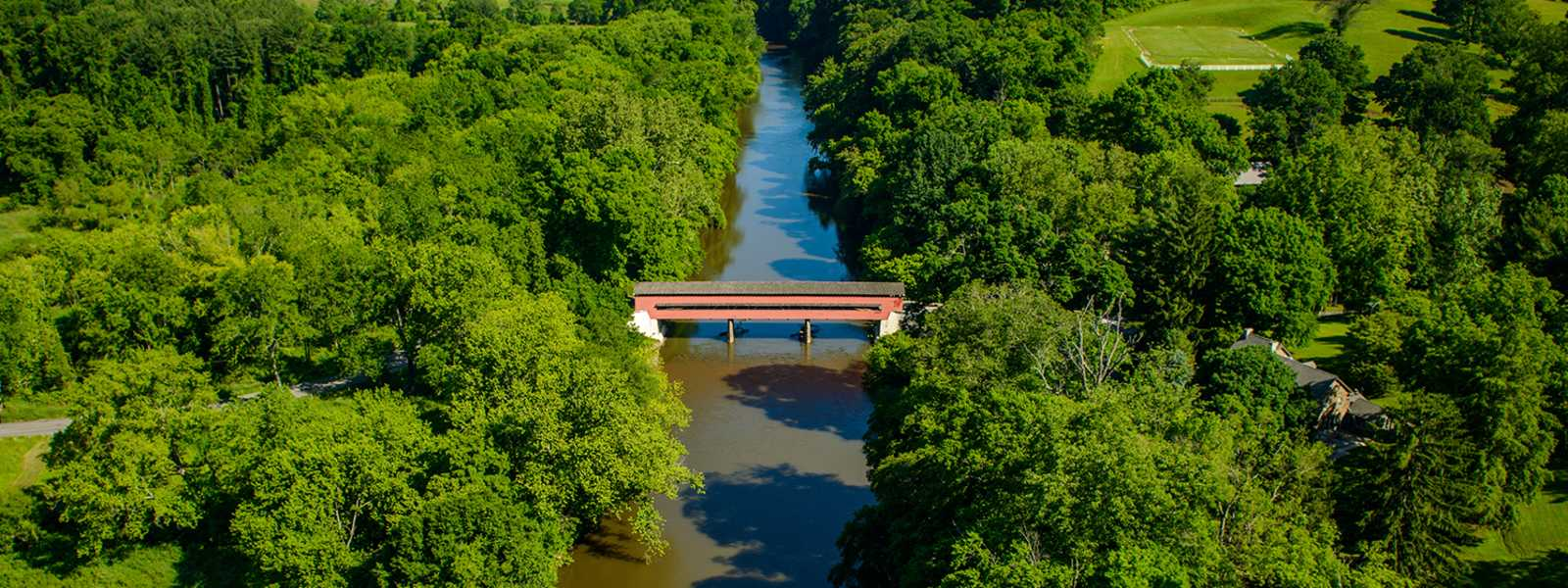 Aerial View of Brandywine Valley Covered Bridge