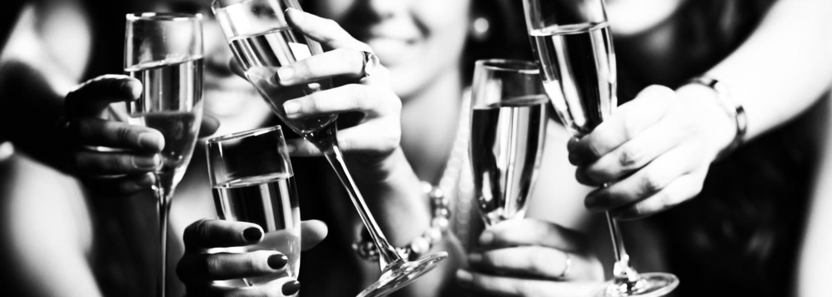 Champagne Toast in BW