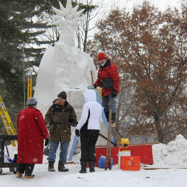 snow sculpting team