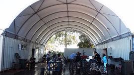 The volunteer run bike workshop in Perth.