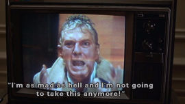Peter Finch in that rousing scene from Network.