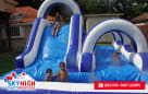 Kids Playing on Double Water Slide