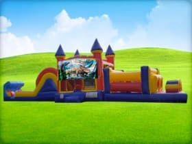 50ft Dinosaurs Obstacle w/ Wet or Dry Slide