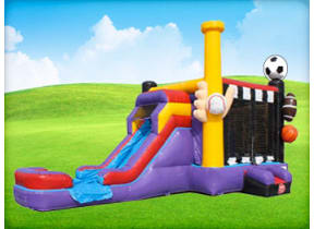 Sports Combo EZ Bouncer with Wet or Dry Slide
